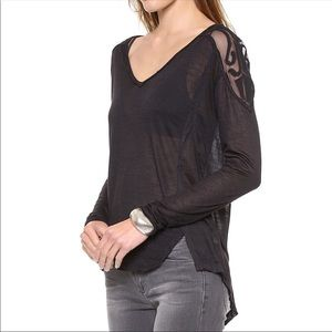 Free People Gatsby Black Long Sleeve Lace Top